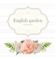 Cute floral square design frame with garden rose vector