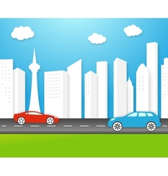 Eco-friendly city with white buildings vector