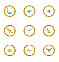 first dinosaur icons set cartoon style vector image vector image