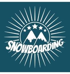 Flat snowboarding with mountains vector image