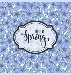 hello spring hand drawn brush pen lettering on vector image vector image