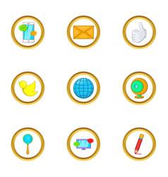 Internet icon set cartoon style vector