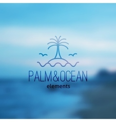 Logo of palm on island and waves vector