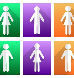 Man and woman flat icons vector