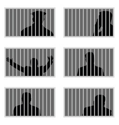 Man silhouette in prision set vector