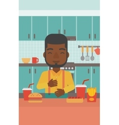 Man suffering from heartburn vector