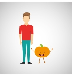 man with cartoon fruit peach vector image