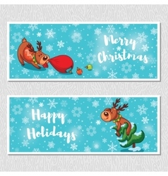 Merry christmas horizontal banners with cute vector