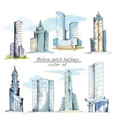Modern sketch buildings colored vector