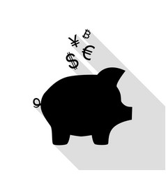 piggy bank sign with the currencies black icon vector image