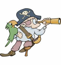 pirate with parrot and telescope vector image