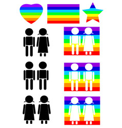 rainbow couples icon set vector image vector image