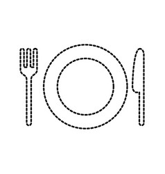 restaurant kitchen plate with fork and knife vector image vector image