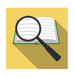 seraching of information in the book icon in flat vector image vector image