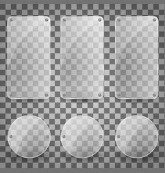 set of realistic glass plate shiny vector image vector image
