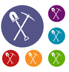 shovel and pickaxe icons set vector image