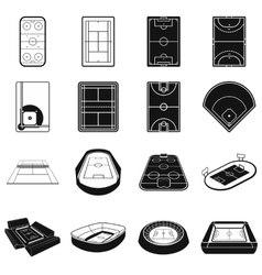 Stadium black simple icons set vector image vector image