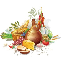 Still life with country food vector