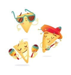 Three happy nachos characters playing mexican vector