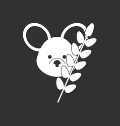 White icon on black background koala and plant vector