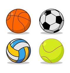 Sports ball set Basketball and football Tennis and vector image