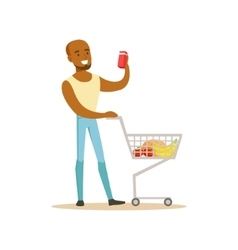 Man With Cart Of Groceres Shopping In Department vector image