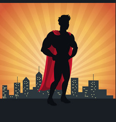 Superhero action justice posing front cityscape vector
