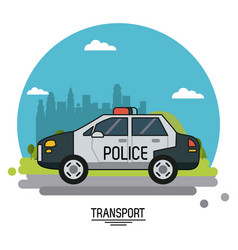 colorful poster of transport with police car on vector image