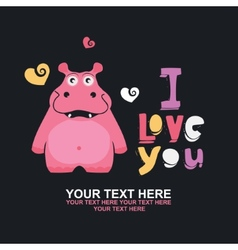 Greeting card with hippo vector