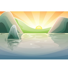 Sunset over a lake vector image