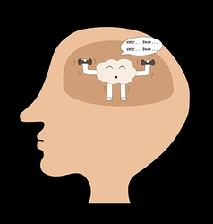 Brain cartoon exercise inside human head vector
