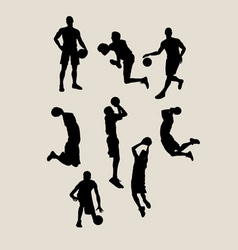 Male basketball silhouettes vector