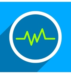 Pulse monitoring flat square icon with long shadow vector