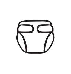 Baby diaper sketch icon vector