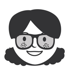 beautiful woman head with glasses avatar character vector image