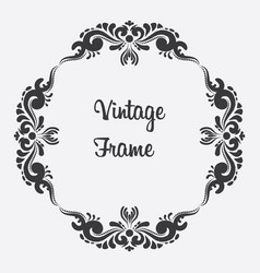 black square vintage frame floral ornament vector image