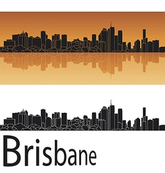 Brisbane skyline in orange background vector image vector image