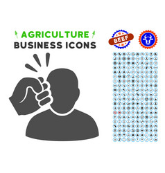 Crime violation fist strike icon with agriculture vector