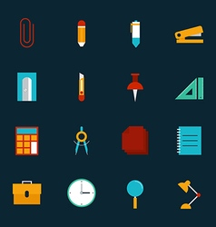 Education stationery icon set flat design vector image vector image