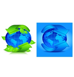 green arrows globe vector image vector image