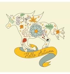 Hello autumn floral horse vector