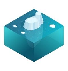 Isometric underwater view of iceberg with vector