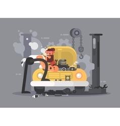 Man repair car vector image vector image