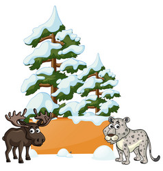 Moose and cheetah in the snow vector
