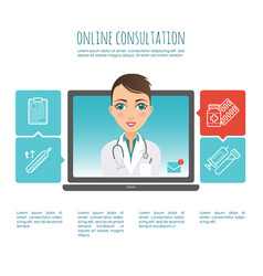 Online healthcare diagnosis and medical consultant vector