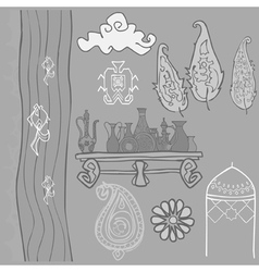 Oriental pattern trees river pitchers vector