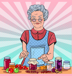 Pop art senior woman making jam healthy eating vector