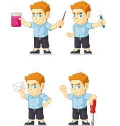 Red Head Boy Customizable Mascot 12 vector image vector image