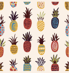 seamless pattern with pineapples of various color vector image vector image