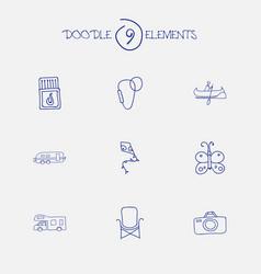 Set of 9 editable trip doodles includes symbols vector